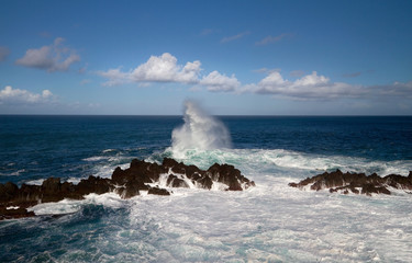 Waves breaking on Madeira coast.