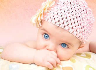 Baby Girl with Flower Hat