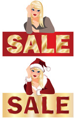 Winter sale banner with girl. vector illustration