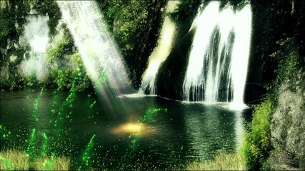 Sun rays in the lagoon: green fairies