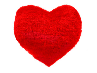 Fluffy red heart pillow