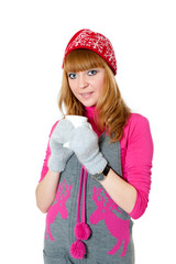Christmas Girl with cap isolated on white