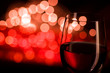 Red wine and blurred lights