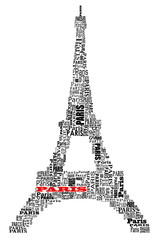 abstract tour eiffel with words Paris
