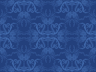 Seamless blue floral wallpaper