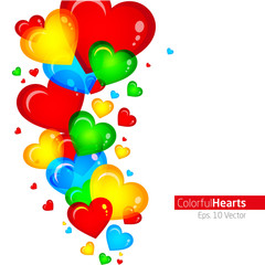 Abstract colorful hearts vector