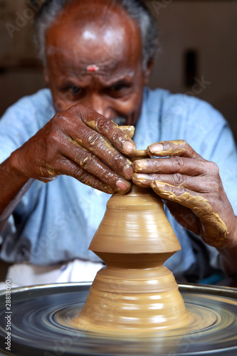 Indian Potter Making a Pot
