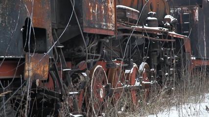 Old locomotive. Dolly shot