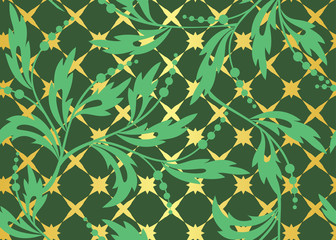 vector seamless dark green pattern with golden tracery