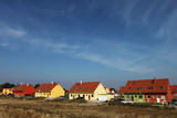 Colorful semi-detached houses - modern residential housing poster