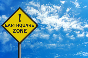 Photo realistic 'earthquake zone' sign, with space for text over