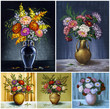 Flowers, asters in a vases. Picture oil paints, set