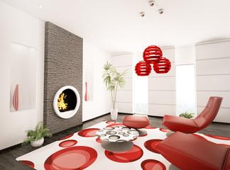 Wohnzimmer mit Kamin und Sessel interior 3d render