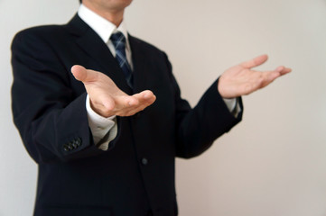 ビジネスマン 説明またはなぜのポーズ