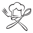 chef hat with spoon and fork