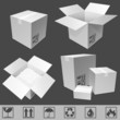 White cardboard boxes.