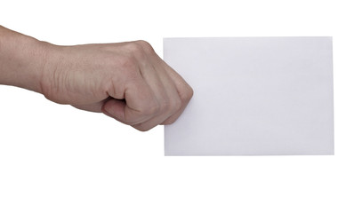 hand holding blank message note