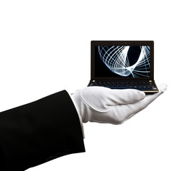 Holding netbook laptop