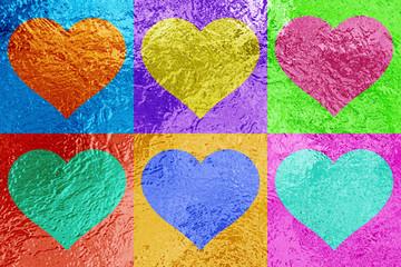 Multi-Color Metallic Heart Shapes