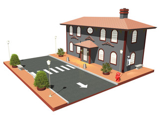 Casa Antica con Strada-Old House and Road-3D