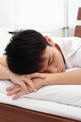 Man sleeping prone