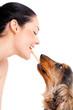 Mensch und Tier / Frau und Hund