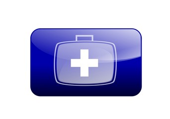 Web button in blue with First Aid icon