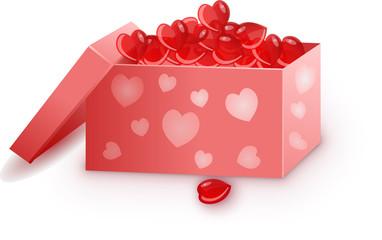 коробка с сердечками на день святого валентина