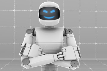 White futuristic robot, crossed arms, scary smiling face