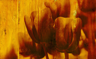 vintage tulips on gold background