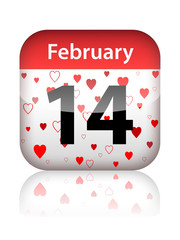 14th February - St Valentine's Day (button calendar page love)