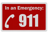 Photo realistic 'Emergency 911' sign, isolated on white