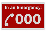 Photo realistic 'Emergency 000' sign, isolated on white