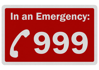 Photo realistic 'Emergency 999' sign, isolated on white