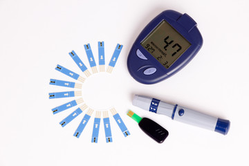 High Blood Sugar on Glucose Meter with diabetic Items