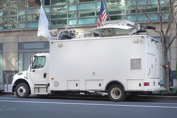 Television News Truck Van, Satellite Dish Roof, Parked on Street