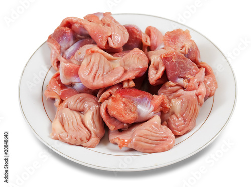Raw fresh chicken gizzard