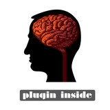 human head with brain isolated illustration poster