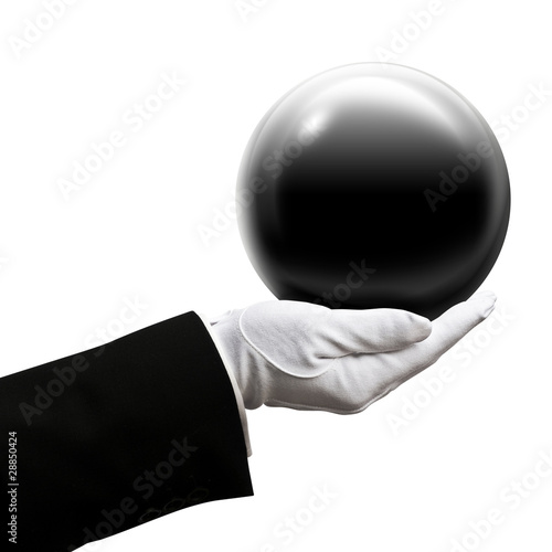 Holding black ball