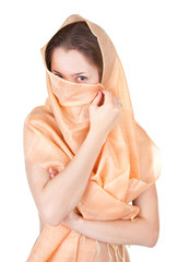 naked girl in a transparent shawl