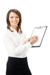 Happy smiling businesswoman writing on clipboard, on white