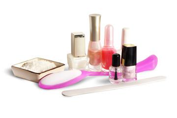 manicure set on white background