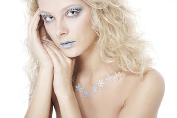 Beautiful woman with winter make-up