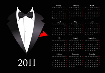 Vector European calendar with elegant suit
