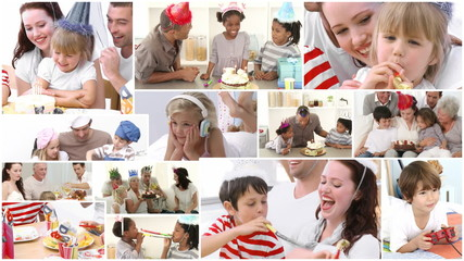 Animation of families celebrating birthday together