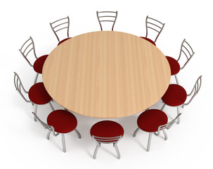 Round table with chairs, isolated on white with clipping path