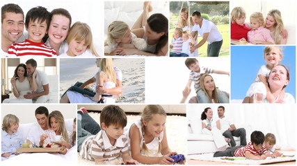 Montage of diverse families playing together