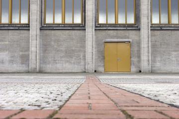 Yellow door and cobblestone