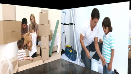 Animation of families renovating a room
