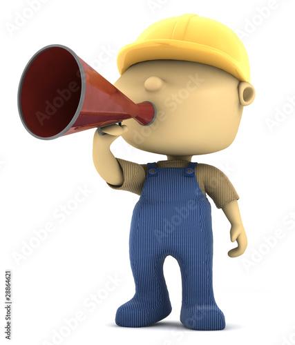 operaio con megafono
